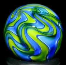 """HOT HOUSE GLASS MARBLE/.702""""-LIME& SAPPHIRE BANDED CHAOS #537-ALT.with B/W BANDS"""
