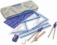 Staedtler Maths Set Geometry Ruler set Square Protractor School set in Gift Tin