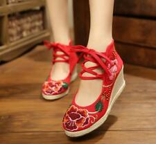 Women Chines Embroidered Floral Cavas Shoes Wedge Breathable Pumps Heels 2019 C9