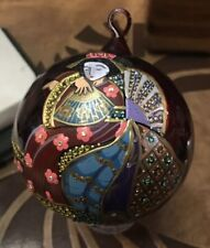 Jay Strongwater LARGE Glass Christmas Ornament 2005 Geisha Japanese Hand-painted