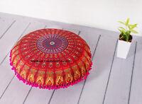 Rouge Indien Mandala Grand Pouf Méditation Coton Coussin Rond Housse 81.3cm