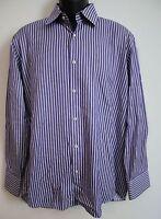 HUGO BOSS Mens Purple Striped Long Sleeve Button Down Shirt 16.5 32/33