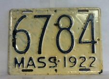 1922 MASSACHUSETTS Motorcycle License Plate (6784)