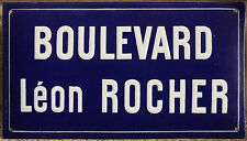 French enamel steel street sign road plaque vintage boulevard leon léon rocher