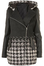 New TOPSHOP dogtooth sleeve duffle coat UK 6 in Charcoal