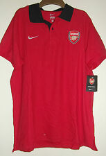 NIKE Mens Polo Shirt Arsenal Football Retro Polo Shirt Size Large Red