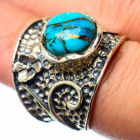 Large Blue Copper Turquoise 925 Sterling Silver Ring Size 7 Jewelry R27798F
