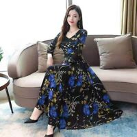 Fashion beach sundress Long Floral Dress Casual Party Maxi Long Sleeve Evening