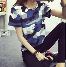 Fashion Women Camo Printing Tops Short Sleeve Shirt Casual Blouse Summer T-shirt