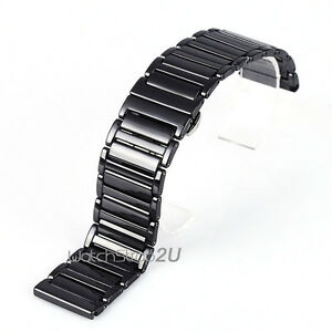 24mm Black White Ceramic Links Watch Band Strap Butterfly Push Button Clasp 24mm