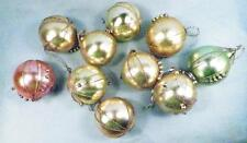 10 Antique Christmas Ornaments Balls Mercury Glass Beads Wire Pastels #93