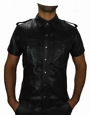 Best Quality leather shirt  police style Gay Leather shirt,lederhemd Cuir,Hemd