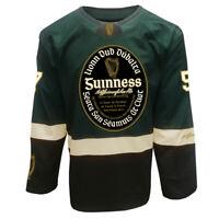 Guinness Ireland Label Ice Hockey Mens Jersey Green Black Long Sleeves