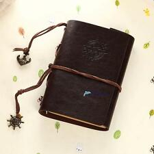 Retro Vintage Leather Bound Blank Page Note book Notepad Journal Diary E DH