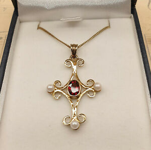 Vintage 9ct Gold Gilt 925 Silver Pearl & Garnet Cross Pendant Necklace with Box