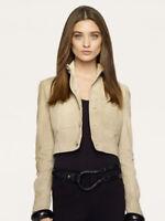 $2,595 Ralph Lauren Black Label Denim Womens Brown Moto Leather Italy Jacket New