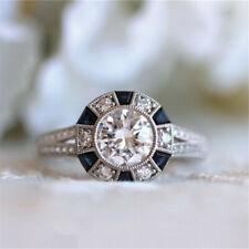 Fashion Women 925 Silver Ring Blue Topaz Jewelry Wedding Diamond Rings Size 5-12