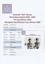 KEN Marrone West Ham United 1953-1967 ORIG mano firmato PICTURE taglio