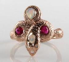 SOLID 9CT 9K Rose Gold Snake Natural Indian Ruby Australian Opal & Diamond Ring