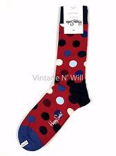 HAPPY SOCKS Mens 10-13 Shoe 8-12 Blue/Red/White Polka Dot Contrast Toe Crew