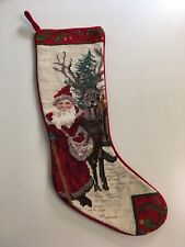 Santa Claus with Reindeer Needlepoint Christmas Stocking Red Velvet 18""