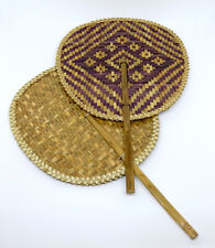 Thailand Traditional Weaving Hand Fan Lacquered Krajood Natural Sedge Handicraft