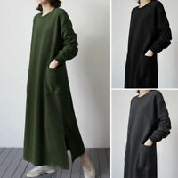 S-5XL Women Long Sleeve Sweatshirt Shirt Dress Long Maxi Dress Full Length Dress