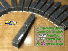 30 Center Cut Clear Glass Style Top Gray Foam Pads White Plastic Base 8-track