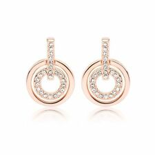White Crystals from Swarovski ® Round Circle Stud Earrings Rose Gold Plated