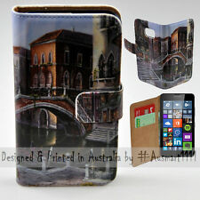 Wallet Phone Case Flip Cover for Nokia Lumia 640 - Venice River Canal