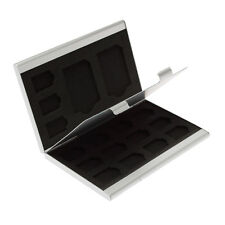 Silver Aluminium 2 x SD Memory Card 15 x Micro SD SDHC Cards Holder Slim