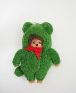"Monchhichi Animal Monkeys Green Hood Sekiguchi 4.5"" Plush Toy Doll japan"