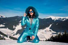 Light Blue Metallic Skianzug Womens Winter Warm Snow Suit Set Ski Glanz Nylon We