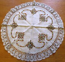 Antique Embroidered Tablecloth Linen Vintage Table Cover Arts and Crafts 23""