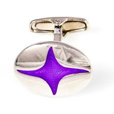 Ninja Star Cufflinks Purple Oval Wedding Fancy Gift Box Free Ship USA