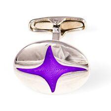 Ninja Star Cufflinks Purple Oval Wedding Fancy Gift Box Free Ship USA