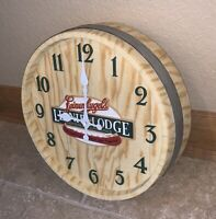 "Vintage Leinenkugel Craft Beer Barrel 12"" Wall Clock Display Sign Wood/Resin"