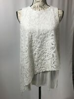 Vince Camuto Top NWOT Women's White Lace Sleeveless Blouse Size Small
