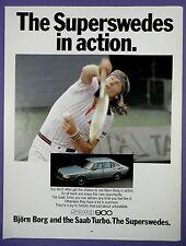 Bjorn Borg + Saab 900 - Original 1980s Full Page Magazine Advert