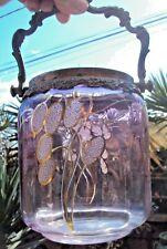 ancien seau à biscuits en verre violet décor de fleurs dorées début 20 ème