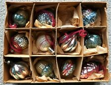 Eleven Small Antique / Vintage Glass Christmas Tree Decorations