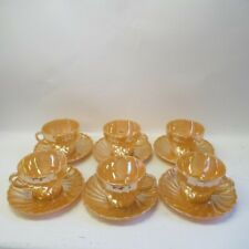 Anchor Hocking Teacups & Saucers 12pc Fire King Peach Lustre Swirl Vintage USA