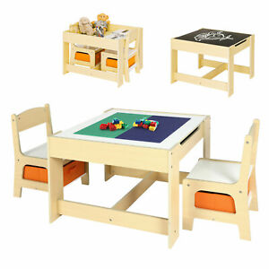 Kids Table and 2 Chair Set Study Activity Toddler Lego Block Desk w/ Storage