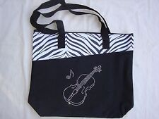 "VIOLIN Bling Tote Bag W/Rhinestones Black 18' x 15"" Brand NEW Beautiful"