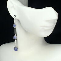 Unheated Round Blue Tanzanite 7mm Natural White Cz 925 Sterling Silver Earrings