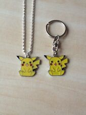 1 silver tone pokemon pikachu necklace and matching keyring gift set