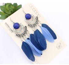 1 Long Bohemian Pair of Feather Tassels Dangle Earrings - Lavender/Purple # 565