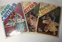Lot Of 3 1970's Vintage New Craft Paper Critters Owl Rooster Turtle Sculptures