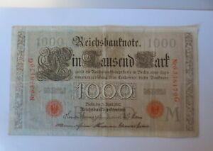 Geldschein Eintausend Mark Reichsbanknote G-6338179-M, 1910  ♥ (2G)