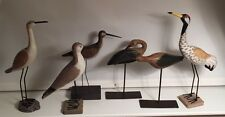 Decorative Grouping of 6  Elegant Wooden Birds with Metal Legs